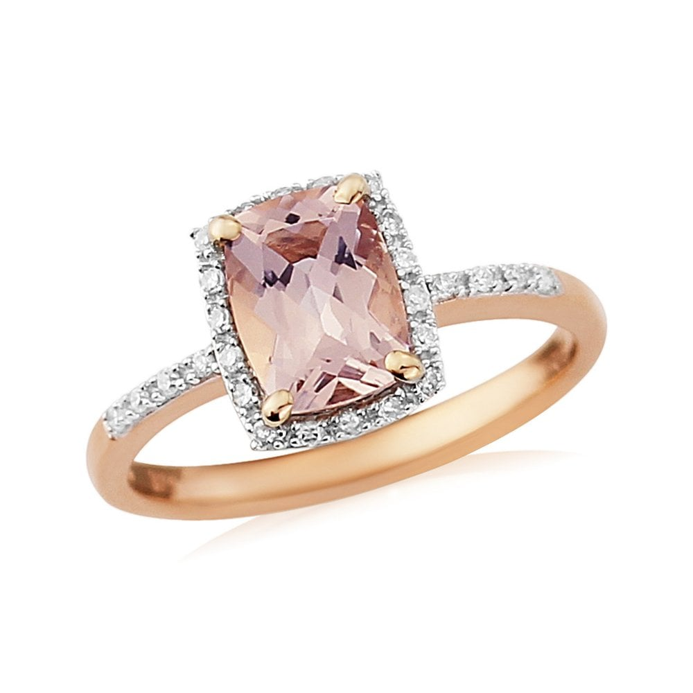 9ct Rose Gold Diamond And Morganite Ring With Diamonds On Shoulders Jewellery From Adams Jewellers Limited Uk