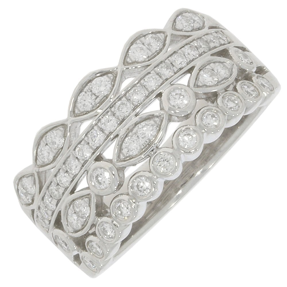 This is a picture of 50500CT WHITE GOLD PAVE STYLE 50500 ROW INTRICATE DIAMOND BAND WITH 500.50CT DIAMOND