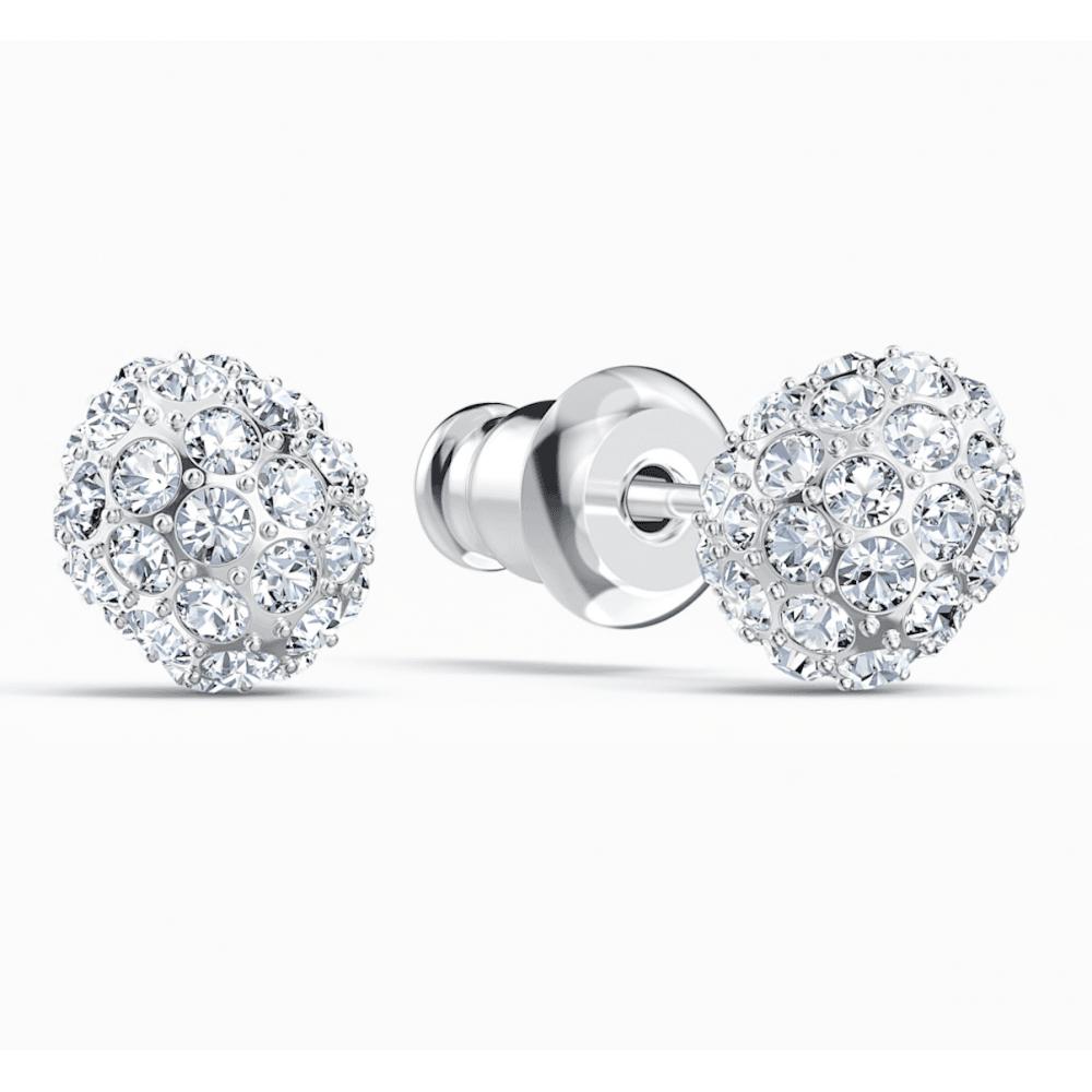 Swarovski So Cool Stud Pierced Earrings White Swarovski Crystals Rhodium Plated Brands From Adams Jewellers Limited Uk