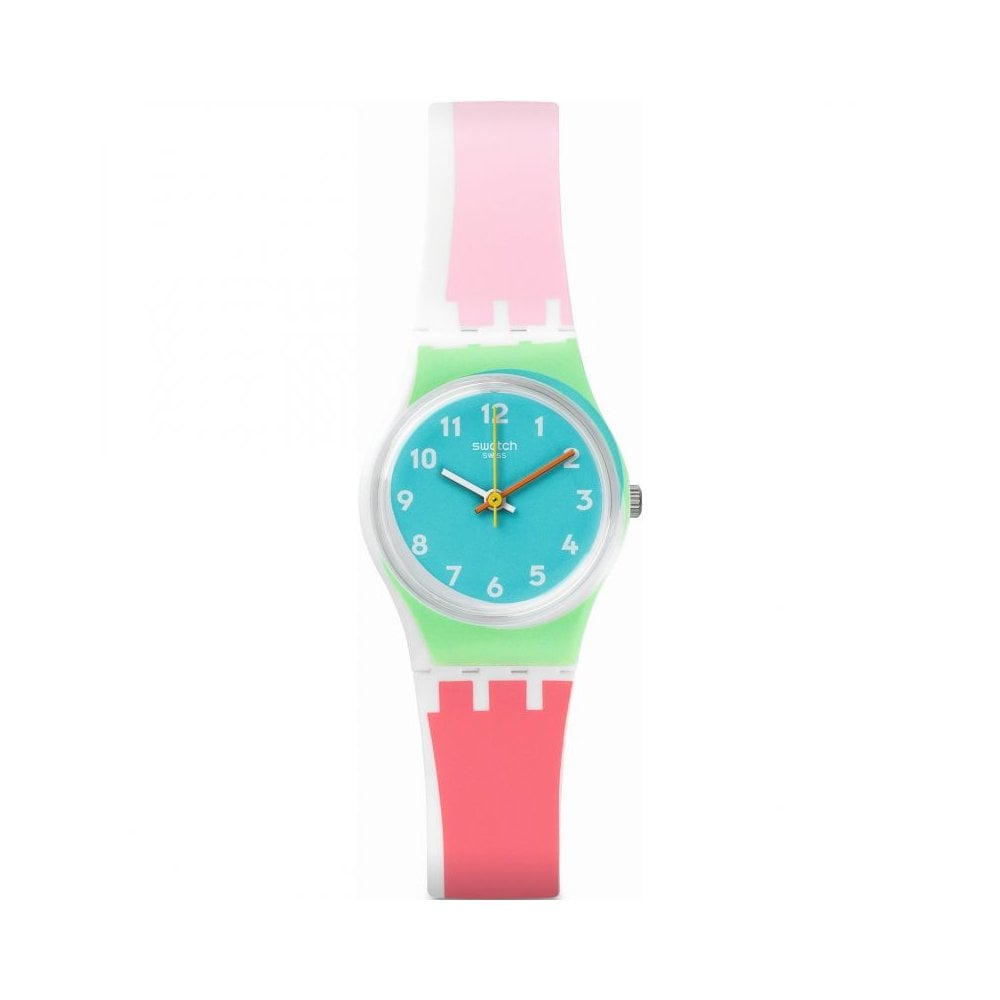 Swatch De Travers Watch With Light Dark Pink Strap And Blue Dial