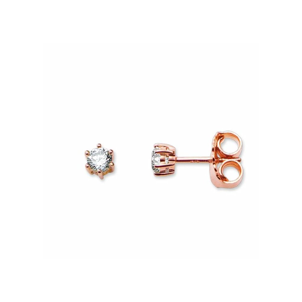 Thomas Sabo Rose Gold On Silver Classic Cubic Zirconia Stud Earrings Jewellery From Adams Jewellers Limited Uk